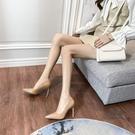 細跟高跟鞋 2021春秋新款單鞋女裸色高跟鞋女細跟尖頭性感法式少女淺口鞋百搭 交換禮物