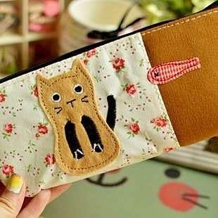 【發現。好貨】韓國文具 簡約甜美小貓咪筆袋 可愛創意帆布筆袋 收納袋