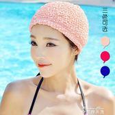 韓國長短發時尚護耳布游泳帽加大不勒頭溫泉泳帽女