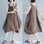 全網批發2千免運大碼女裝短袖洋裝8116#純色棉麻文藝大碼女裝無袖顯瘦連身裙FF1FA028A朵維思