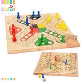 飛行棋兒童幼兒園小學生親子互動遊戲棋類益智玩具二合一實木蛇棋