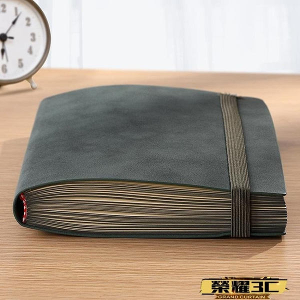 筆記本 復古軟皮面筆記本子商務會議工作記錄A5羊巴皮配鬆緊帶加厚超厚 618購物