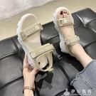 小雛菊運動中跟涼鞋女仙女風ins潮2020年夏季新款鬆糕厚底羅馬鞋 伊衫風尚