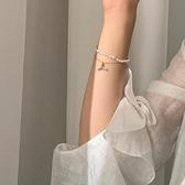 手鏈 珍珠閨蜜手鏈女ins小眾設計多層魚尾輕奢手飾品氣質簡約風【快速出貨八折搶購】