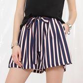 夏裝新款闊腿短褲女薄款豎條紋繫帶顯瘦百搭A字寬鬆休閒褲