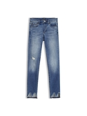 Gap 女裝 時尚磨白水洗破洞修身牛仔褲 512487-中度靛藍