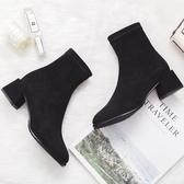 靴子女短靴冬季新款女鞋百搭中跟粗跟瘦瘦靴短筒加絨網紅冬小