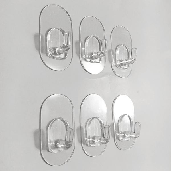 六入/組橢圓形小掛勾 萬用門後無痕掛鉤掛鈎 易立家生活館 舒適家企業社 超級黏膠貼片