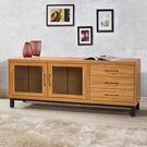 【J-style】簡約自然風5尺雙門三抽電視矮櫃-淺柚木色