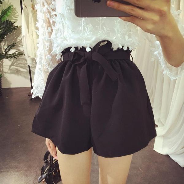 [超豐國際]高腰顯瘦松緊腰系帶短褲春裝新品時尚百搭花苞闊腿褲1入