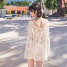 韓【不怕曬】比基尼外搭罩衫.鉤花鏤空蕾絲長袖罩衫上衣【魔幻甜心】