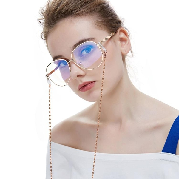 眼鏡錬鈦鋼眼鏡鏈口罩繩嘴唇鏈肖邦鏈防滑繩百搭古風掛脖鏈條太陽鏡花鏡 快速出貨