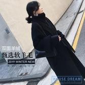 斗篷外套女 手工雙面羊絨大衣2020秋冬廓形黑色外套過膝寬鬆斗篷