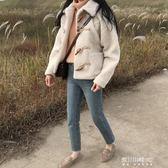 牛角扣chic羊羔毛短外套女冬季短款夾棉加厚新款日繫學生毛絨大衣    東川崎町    YYS