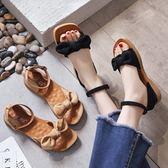 【35-43全尺碼】平底涼鞋.甜美絨面蝴蝶結扣環平底涼鞋.白鳥麗子