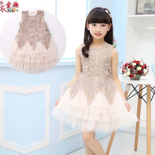 衣童趣 ♥韓版女童 新款 花朵蕾絲 無袖 紡紗蛋糕連身裙 花童 喜宴 正式場合表演洋裝
