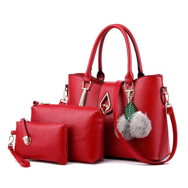 手提包 新款典雅掛飾水滴三件套側背包/手提包/斜背包 6色(現貨販售) -寶來小舖【m3036】