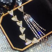《Caroline》★韓國熱賣造型時尚耳環  愛心長款閃亮動人耳環70087