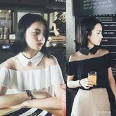 韓版性感一字領露肩短袖雪紡衫女裝網紗拼接漏肩上衣 可哥鞋櫃