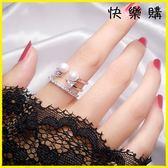 戒指 開口珍珠食指戒指韓時尚個性飾品日韓尾戒尾戒