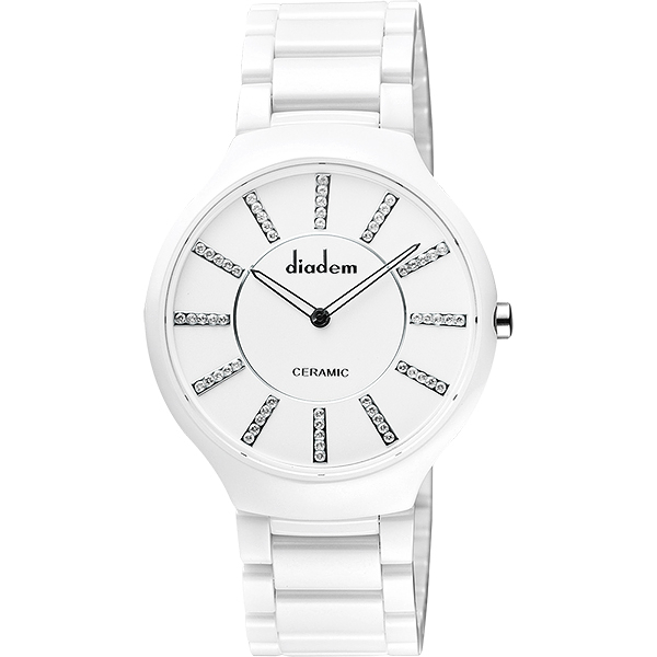 Diadem 黛亞登邱比特傳愛系列陶瓷腕錶-白/水鑽標/38mm 8D1601-611S-WD