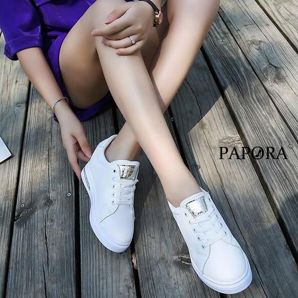 PAPORA浪漫玫瑰綁帶內增高休閒鞋K8806黑/金/銀(偏小)