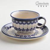 波蘭陶 藏青小卉系列 花茶杯盤組 220 ml 波蘭手工製