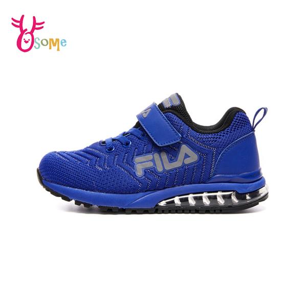 FILA童鞋 男童運動鞋 氣墊籃球鞋 氣墊鞋 慢跑鞋 運動鞋 跑步鞋 魔鬼氈 康特杯 R7655#黑藍◆奧森