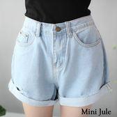 ★現貨★短褲 反摺割破造型牛仔短褲(淺藍) 小豬兒 Mini Jule【KUD81009028】