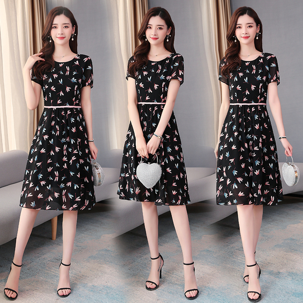 超殺29折 韓國風蜻蜓印花雪紡收腰顯氣質短袖洋裝