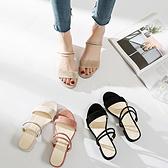 一鞋兩穿女涼鞋 夏新款韓版粗跟中跟一字帶羅馬外穿 chic仙女鞋【庫奇小舖】