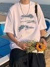 短袖t恤男夏季潮流寬鬆百搭打底五分袖ins潮牌港風簡約半袖上衣服「時尚彩紅屋」