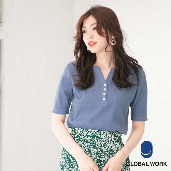 GLOBAL WORK女素色2WAY正背面兩穿亨利開襟領羅紋五分袖短袖T恤上衣-五色
