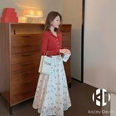 連身裙女春裝新款長袖法式溫柔風收腰顯瘦氣質碎花裙【Kacey Devlin 】