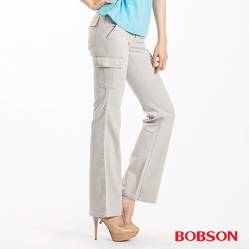 BOBSON 超低腰貼口袋伸縮中喇叭褲