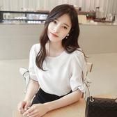 韓版百搭寬鬆甜美心機雪紡衫-艾尚精品 艾尚精品