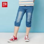 JJLKIDS 男童 字母印染鈕扣七分牛仔褲(牛仔藍)