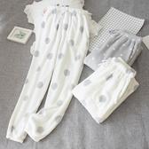 睡褲加厚收口法蘭絨睡褲女士加絨保暖波點暖暖褲小腳束腿珊瑚絨家居褲 春季新品