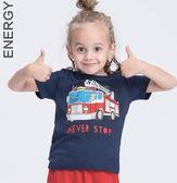男童T恤 童裝 消防車印花兒童T恤短袖男 男童純棉T恤@ 俏女孩
