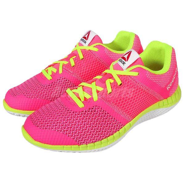 【六折特賣】Reebok 慢跑鞋 Zprint Run 粉紅 螢光黃 運動鞋 女鞋 大童鞋 【PUMP306】 AQ9669