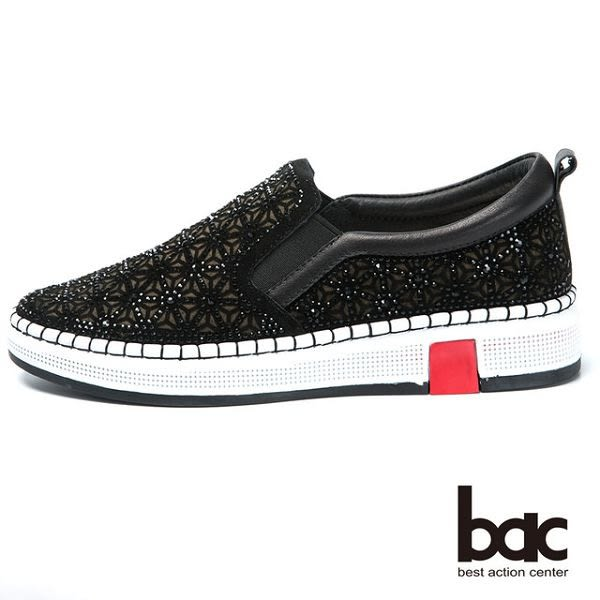 ★新品上市★【bac】時尚休閒 水鑽排列厚底休閒鞋(黑色)
