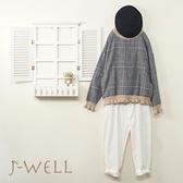 J-WELL 刷毛格倫格子剪接荷葉針織上衣男友褲二件組(組合A582 9J1020藍格+9J1061白)