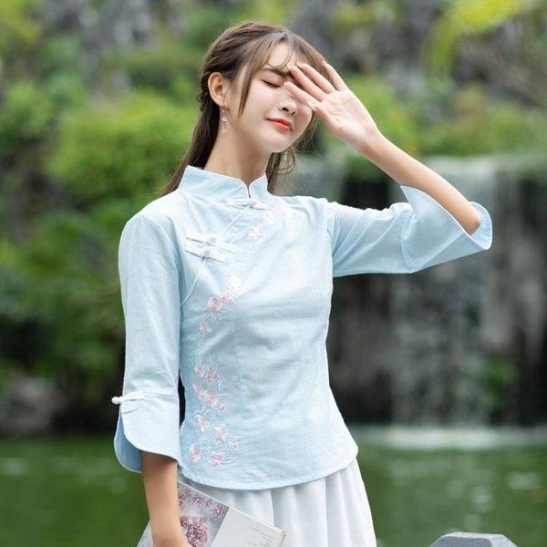 中國風文藝改良式旗袍上衣茶服復古盤扣繡花短袖T恤