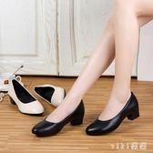 2019新款中跟韓版小皮鞋粗跟媽媽鞋簡約軟底舒適四季工作單鞋 XN3106【VIKI菈菈】