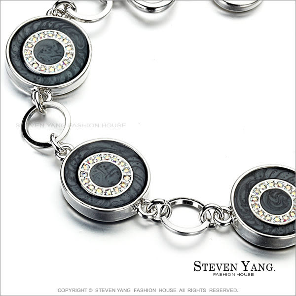 手鍊STEVEN YANG正白K飾「奢華甜甜圈」T字扣 黑色款 甜美淑女款