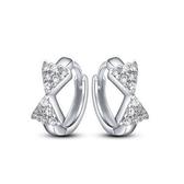 耳環 925純銀鑲鑽銀飾-可愛蝴蝶結生日聖誕節交換禮物女飾品73dy41【時尚巴黎】