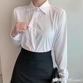 職業白襯衫女長袖女士工作服春季新款白色襯衣雪紡衫正裝上衣 檸檬衣舍