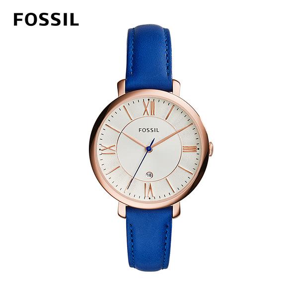 FOSSIL JACQUELINE 浪漫羅馬三針時尚腕錶-經典藍 36mm ES3795