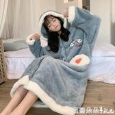 家居服睡衣女秋冬加厚冬季可外穿寬鬆韓版長款睡袍毛絨絨睡裙連體『快速出貨』