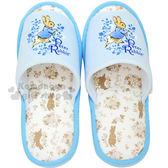 〔小禮堂〕彼德兔 絨布室內拖鞋《藍.跑兔.藤蔓花》柔軟舒適一整天 4511708-09640